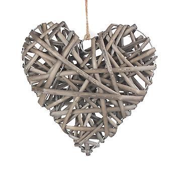 Medium Full Antique Wash Wicker Heart