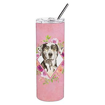 Catahoula Leopard Dog Pink Flowers Double Walled Stainless Steel 20 oz Skinny Tu