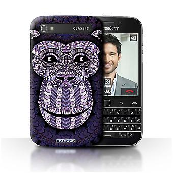 STUFF4 Case/Cover for Blackberry Classic/Q20/Monkey-Purple/Aztec Animal