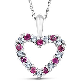 """1 / 2ct Ruby & timantti sydän riipus 14 karaatin valkokulta 1/2 """"pitkä"""