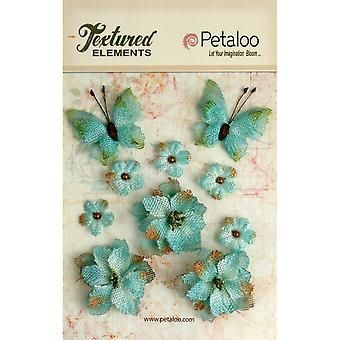 Textured Elements Burlap Blossoms Flowers Butterflies 10 Pkg Teal P1201 205