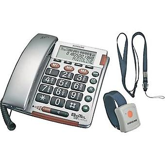 Corded Big Button Amplicomms BIGTEL 50 Alarm Plus Visual call notification, Hands-free Backlit Silver