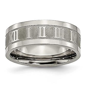 Titanium Engravable Polished and satin Roman Numerals 8mm Satin and Polished Band Ring - Ring Size: 7 to 13