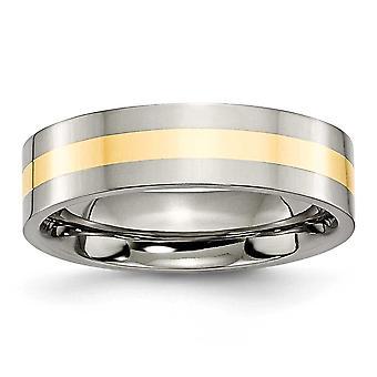 Titanium Flat Band Engravable 14k Gold Inlay Flat 6mm Polished Band - Ring Size: 6 to 13