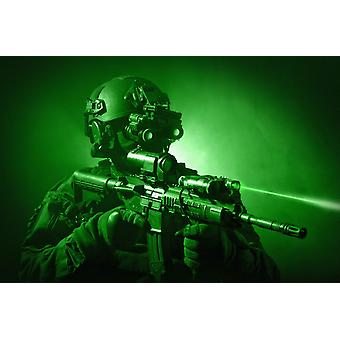 Special operations forces soldier equipped with night vision and an HK416 assault rifle Poster Print