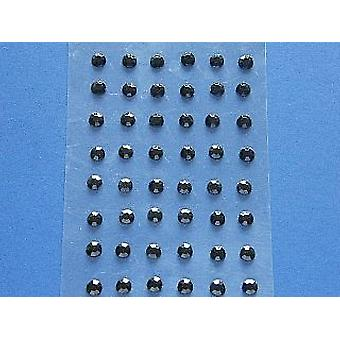 48 Black Self Adhesive Crystal Drops for Crafts