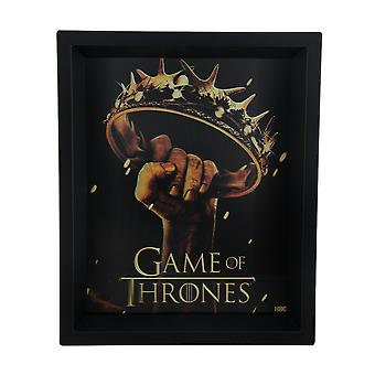 Game of Thrones Crown Logo 8 X 10 3D Shadow Box Wall Hanging