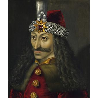 Vintage European history painting of Vlad the Impaler Prince of Wallachia Poster Print