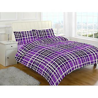 Evan Check gebürstete Baumwolle Flanell thermische Bettbezug Bettwäsche Set