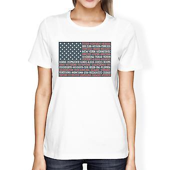 50 Staaten uns Flagge amerikanische Flagge Shirt Damen weiß Baumwolle T-Shirt