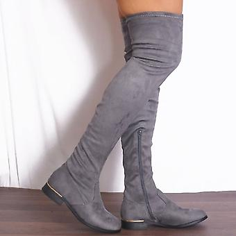 Shoe Closet Grey Thigh High Boots - Ladies Lauren Grey Thigh High Over The Knee Sock Stretch Flat Boots