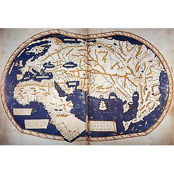 Henricus Martellus World Map 1490 Poster Print Giclee