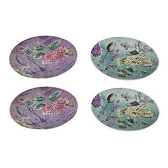 4 Stück Garten Tarif Postkarte drucken 8 Zoll keramische Platte legen