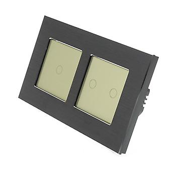 I LumoS Black Brushed Aluminium Double Frame 3 Gang 1 Way Remote Touch LED Light Switch Gold Insert