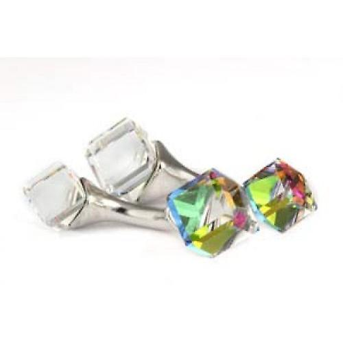 Mousie Bean Dark Vitrail Cube Crystal Cufflinks - Multi-colour