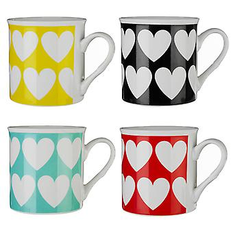 Premier Housewares Set de 4 Mugs coeur