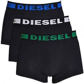 DIESEL 3-Pack Boxer Trunk UMBX-Kory, Black With Green / White / Blue, Large