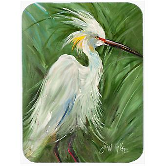White Egret in Green grasses Glass Cutting Board Large