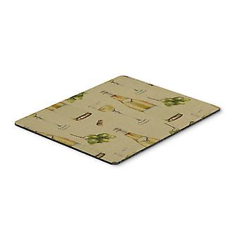 Carolines Treasures  BB5194MP White Wine on Linen Mouse Pad, Hot Pad or Trivet