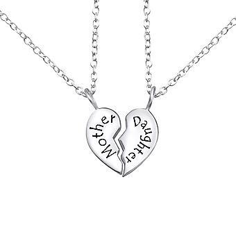 Mutter und Tochter - 925 Sterling Silber Plain Halsketten - W26382x