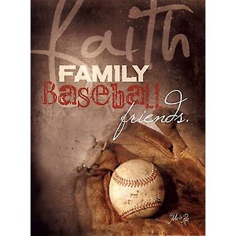Faith Family Baseball Poster Print by Marla Rae (12 x 16)