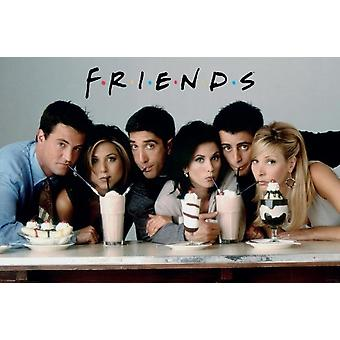 Friends - TV Cast Sharing Milkshake Poster Poster Print