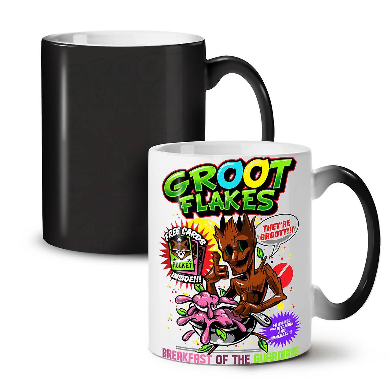 Couleur De Céramique Flocons Nouvelle Noir OzWellcoda Groot Tasse Comique 11 Thé Changeant Café Fcl13TKJ