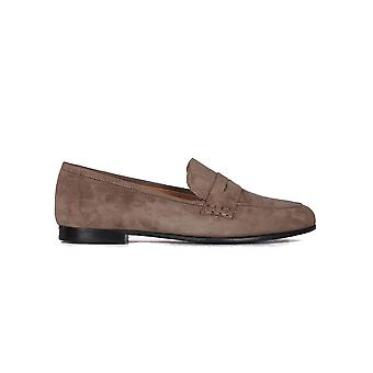 Viamercanti women's R06287BROWN brown suede leather moccasins
