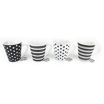 Set of 4 Spot Stripe Design Coffee & Tea Ceramic Mugs Ideal for Home and Office