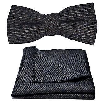 Prussian Blue & Grey Sharkskin Bow Tie & Pocket Square Set