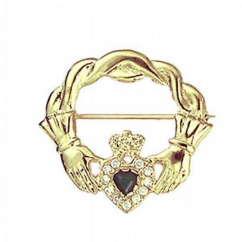 9ct Gold 28x30mm twisted cord top Claddagh Brooch set with Green Agate and CZ's