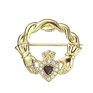 9ct Gold 28x30mm Claddagh twisted cord top Brooch set with Green Agate and CZ