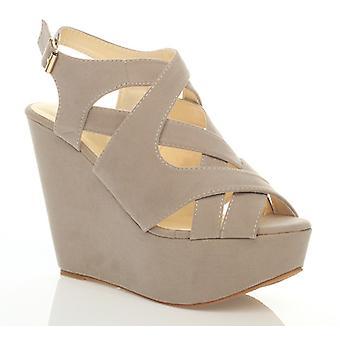 Ajvani damskie platforma klina wysoki obcas buty strappy wyciąć sandały