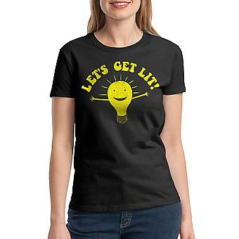 Humor Let's Get Lit Women's Black T-shirt