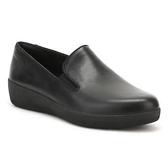 FitFlop Womens All Black Tassel Superskate Leather Loafers