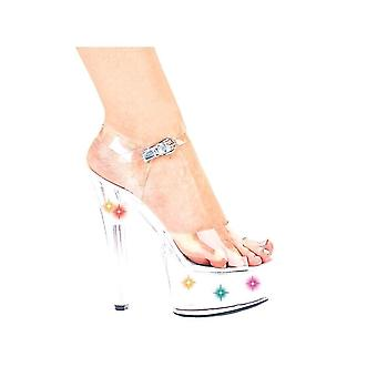 Ellie Shoes E-L6-Brook 6 Heel Clear Sandal With Multicolor Lights