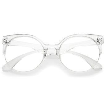 Moderne durchscheinenden Rahmen Runde Clear Lens semi-randlose Brillen 54 mm