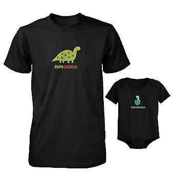 Papasaurus and Babysaurus Dad and Baby Matching Shirt and Bodysuit
