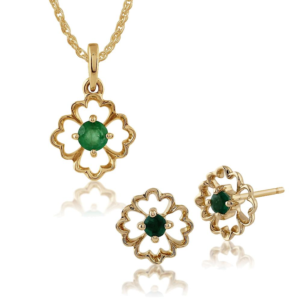 Gemondo 9ct jaune or Floral Emerald Stud Earbague & 45cm collier Set