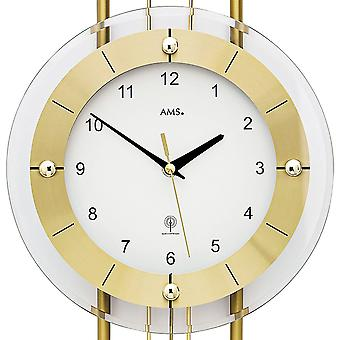 Wall clock radio radio controlled wall clock with pendulum AMS 5257 modern golden pendulum clock with glass