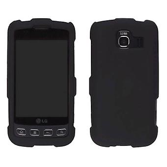 Two piece Soft Touch Snap-On Case for LG Optimus S LS670, Optimus U US670 - Blac