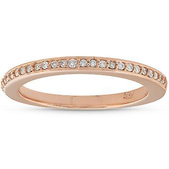 1 / 10ct Pave Diamant Ehering 14K Rose Gold