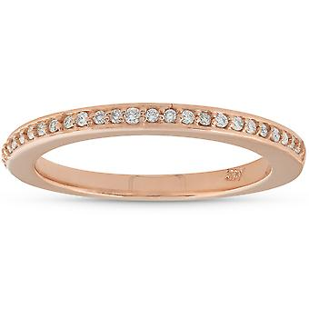 1 / 10ct Pave Diamond Wedding Ring 14k oro rosa