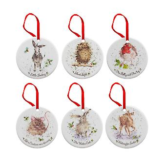 Koninklijke Worcester Wrendale Christmas Tree Decorations Set van 6