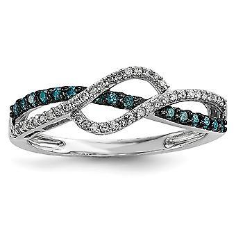 Sterlingsilber polierte Zinke legen Sie offen zurück Geschenk Box rhodinierten blau und weiß-Diamant-Ring - Ring-Größe: 6 bis 8