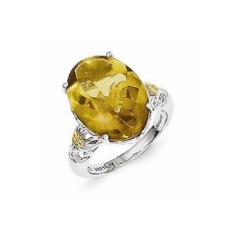925 Sterling Silver Polished Prong set Antique finish With 14k Whiskey Quartz Ring - Ring Size: 6 to 8