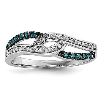 Sterling Silver Polished Prong set Open back Gift Boxed Rhodium-plated Blue and White Diamond Ring - Ring Size: 6 to 8