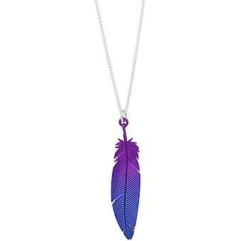 TI2 titane plume bois pendentif - violet