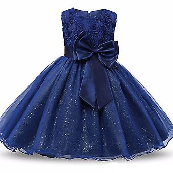 Princess dress with rosette and Flowers-Blue (120)