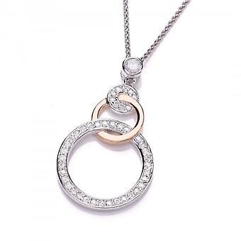 Cavendish francese del ciclo l'anello oro rosa e zirconi Ciondolo con catena d'argento di 16-18